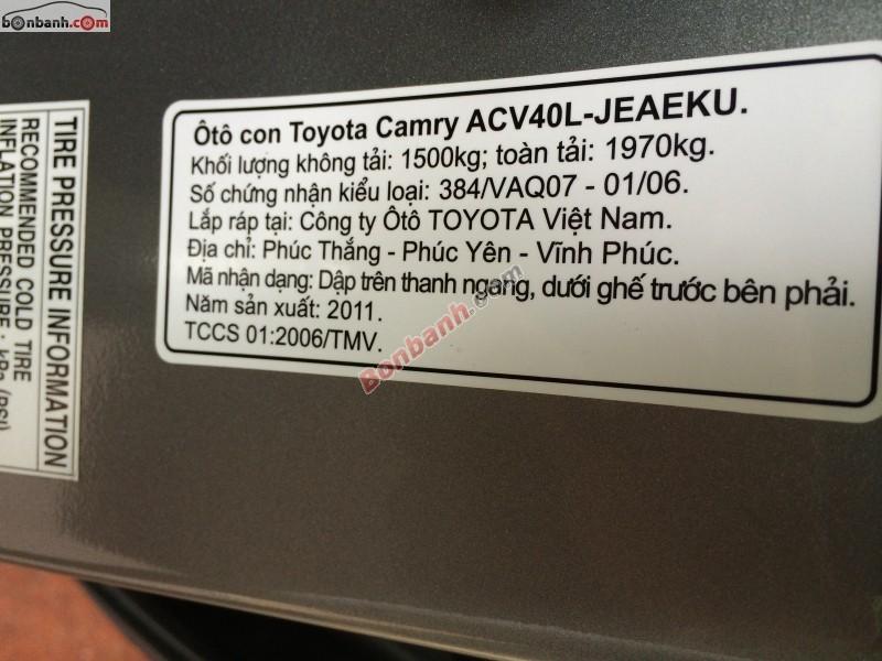 Auto Hòa Khanh bán xe Toyota Camry sản xuất 2011, màu xám, giá 935tr