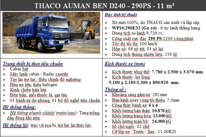 Xe Ben 3 chân Auman D240 11m3, giá tốt