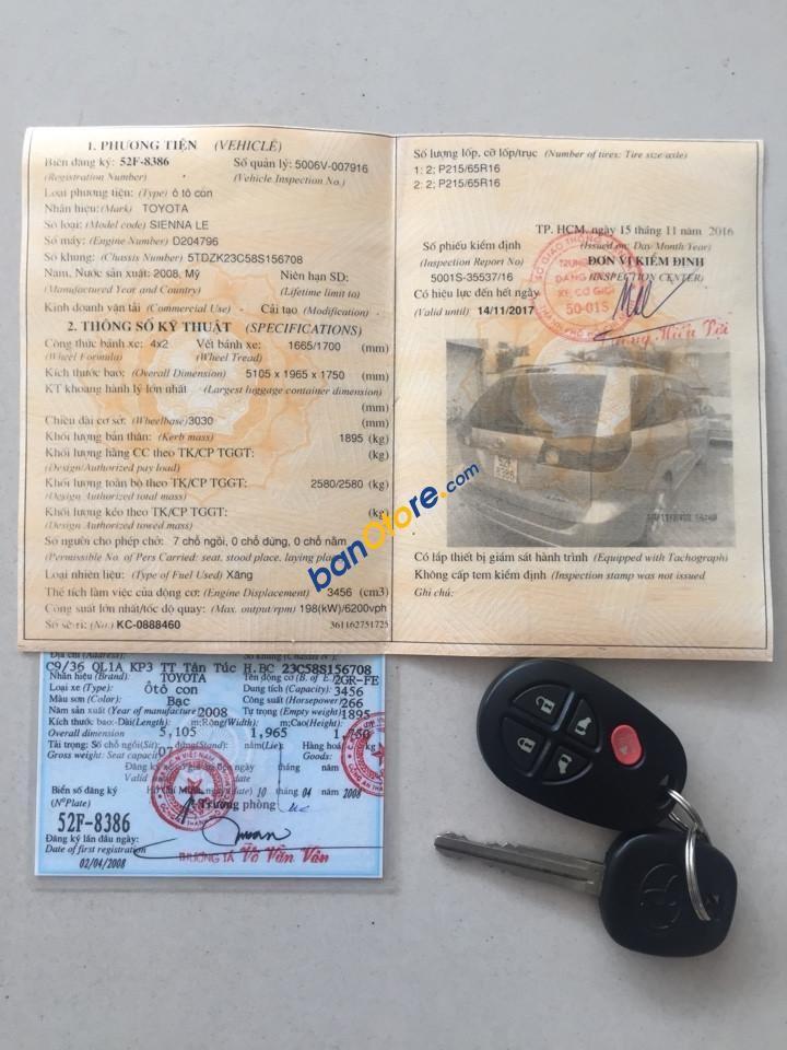 Cần bán Toyota Sienna LE năm sản xuất 2008, màu xám, nhập khẩu