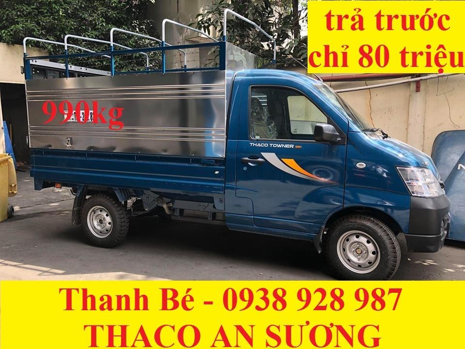Bán xe Trường Hải Thaco Towner 990kg, đời 2017, có máy lạnh, trả trước 80 triệu