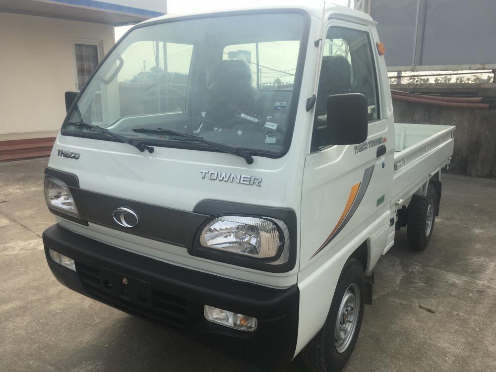 Liên hệ 096.96.44.128/ 0938.907.243 Bán xe Thaco Towner 800 thùng lửng 2018, màu trắng