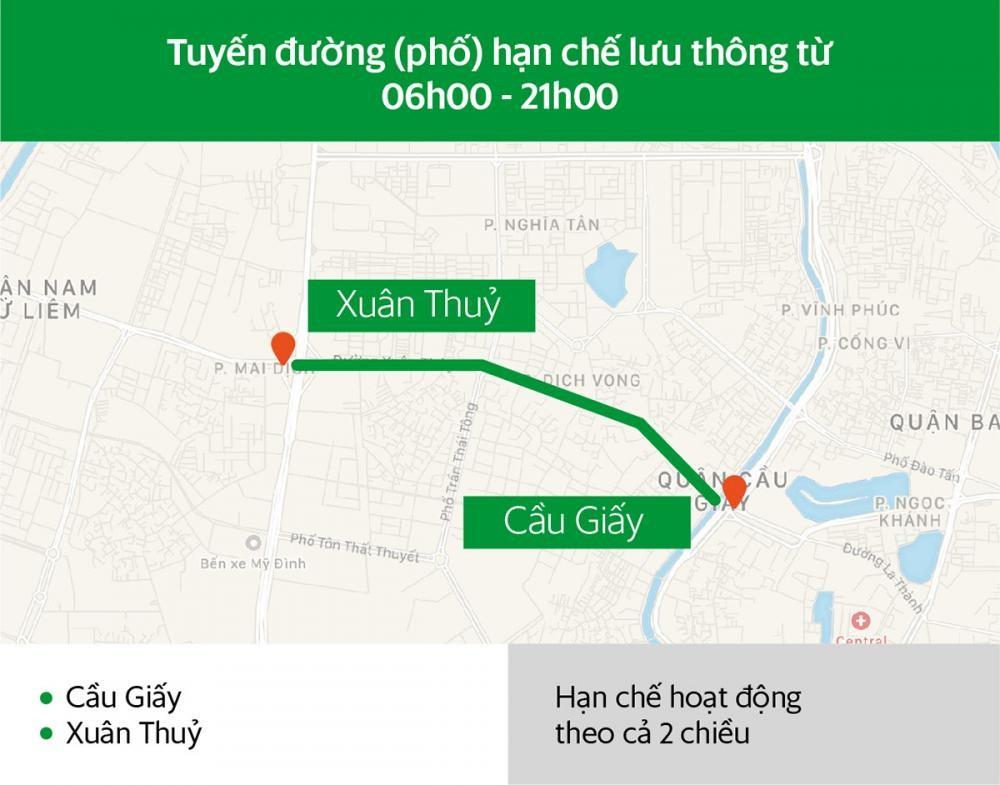 Các tuyến đường Hà Nội và khung giờ hạn chế xe hợp đồng dưới 9 chỗ lưu thông a3