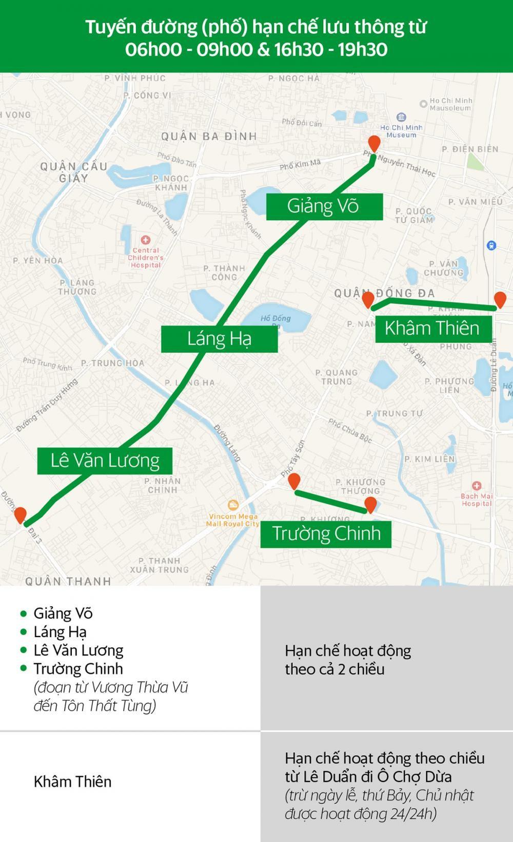 Các tuyến đường Hà Nội và khung giờ hạn chế xe hợp đồng dưới 9 chỗ lưu thông a2