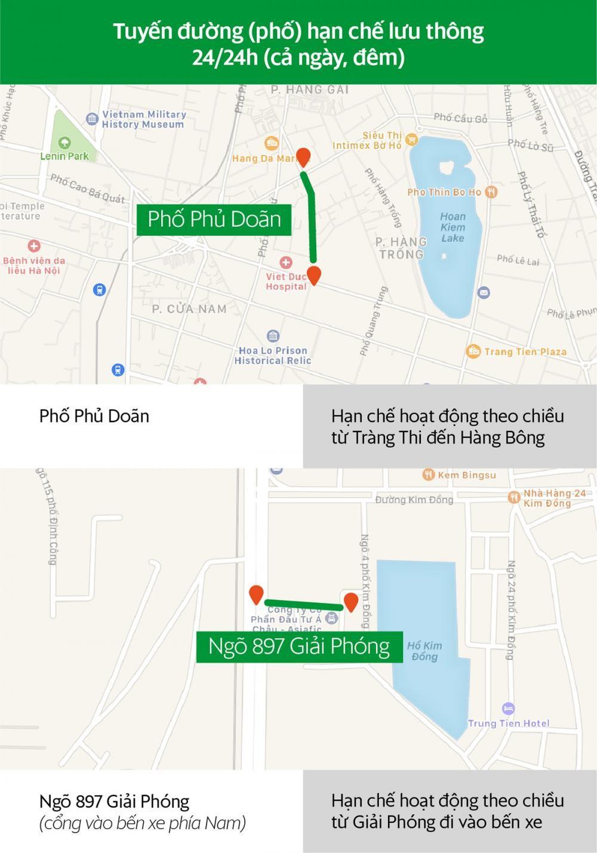 Các tuyến đường Hà Nội và khung giờ hạn chế xe hợp đồng dưới 9 chỗ lưu thông a4