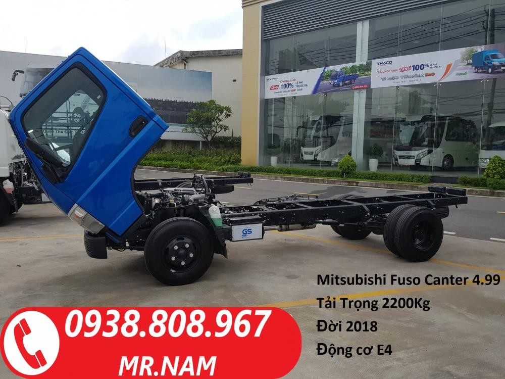 Xe tải Mitsubishi Fuso Canter 4.99 tải trọng 2 tấn 2. Hỗ trợ vay ngân hàng. Liên hệ 0938808967