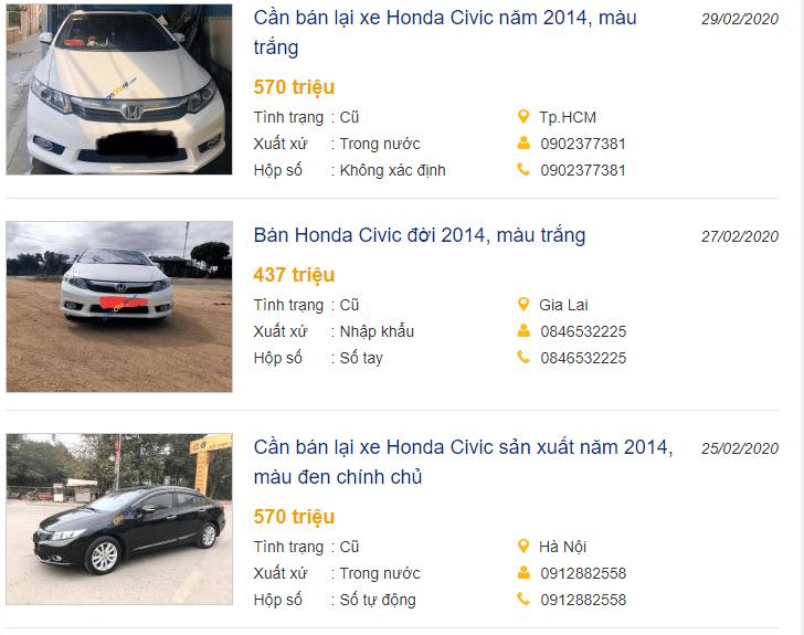 Honda Civic 2014 đăng bán trực tuyến