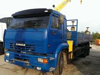 Bán tải thùng Kamaz có cẩu 5 tấn, tải 12 tấn, 3 chân, 2 cầu sau, nhập khẩu, mới