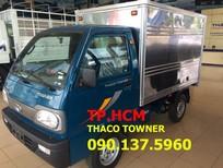 TP. HCM Thaco Towner 800 900kg, màu trắng thùng kín tôn đen