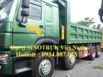 Bán xe ben Howo 371 4 chân nhập khẩu nguyên chiếc, nhíp 10 lá thùng vuông đúc 14 khối