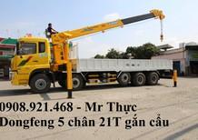 Xe tải Dongfeng 21 Tấn 5 chân 2017 gắn cẩu Soosan, Unic trả trước 400 triệu